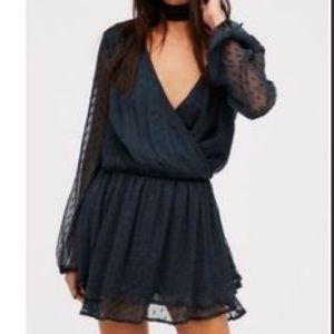 Free People Chiffon Long Sleeve Mini Dress
